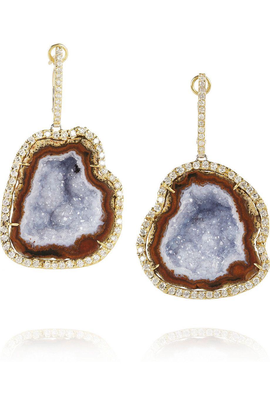 18K Gold Diamond and Blue Geode Earrings Kimberly McDonald aVgOorE