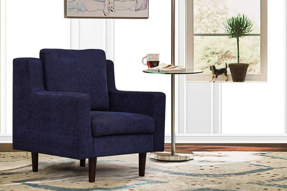Westside 1 Seater Navy Blue Fabric Sofa Mrp Rs 25 200 00 Offer Price Rs 13 900 00 Ships In 10 12 Days Living Room Sofa Living Room Furniture
