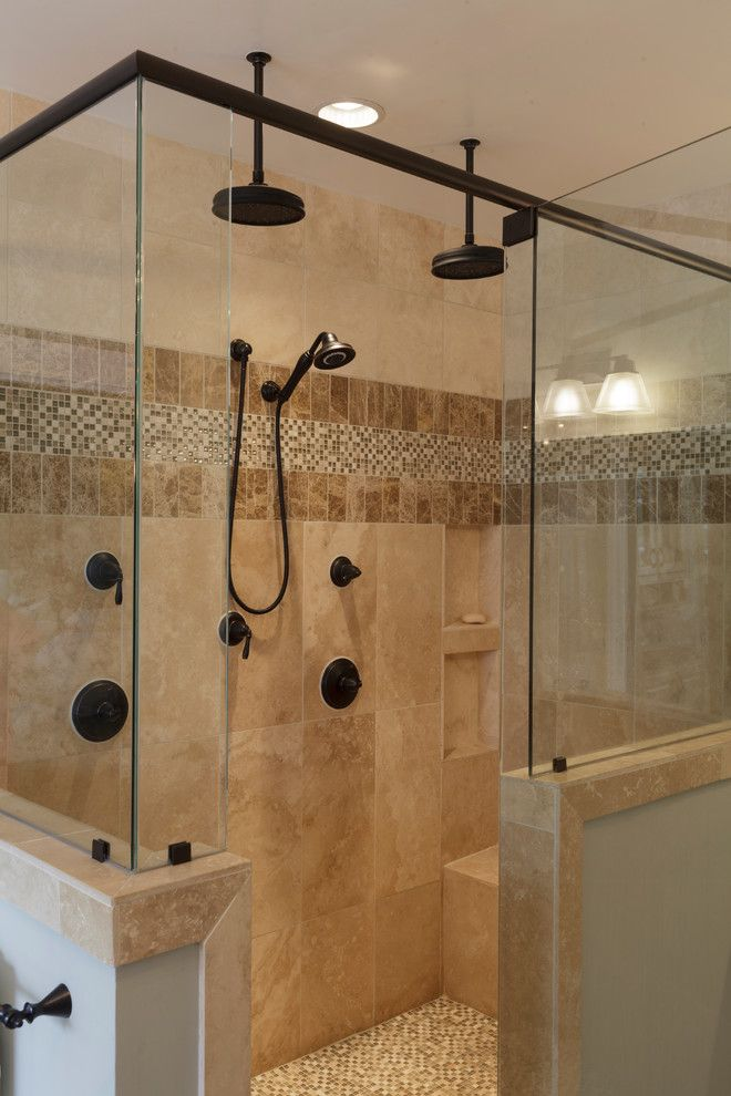 Elegant Glass Tile Accents In Shower Decorating Ideas In Bathroom Traditional Design Ideas With Elegant Air