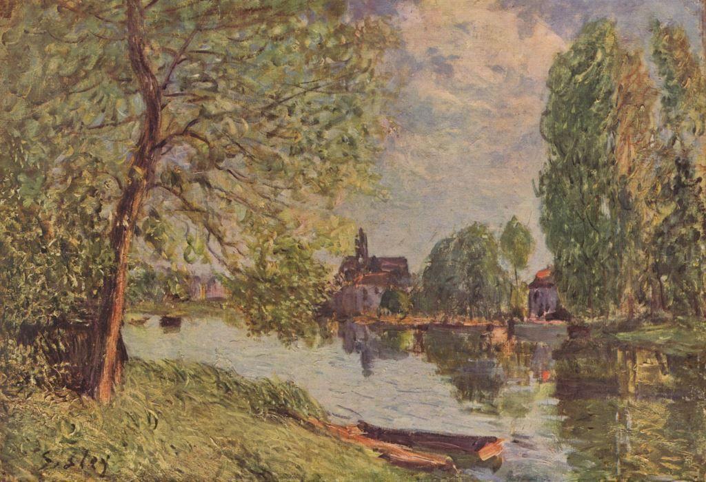 Landschaftsmalerei impressionismus  Alfred Sisley. Flußlandschaft bei Moret-sur-Loing. Um 1890, Öl auf ...