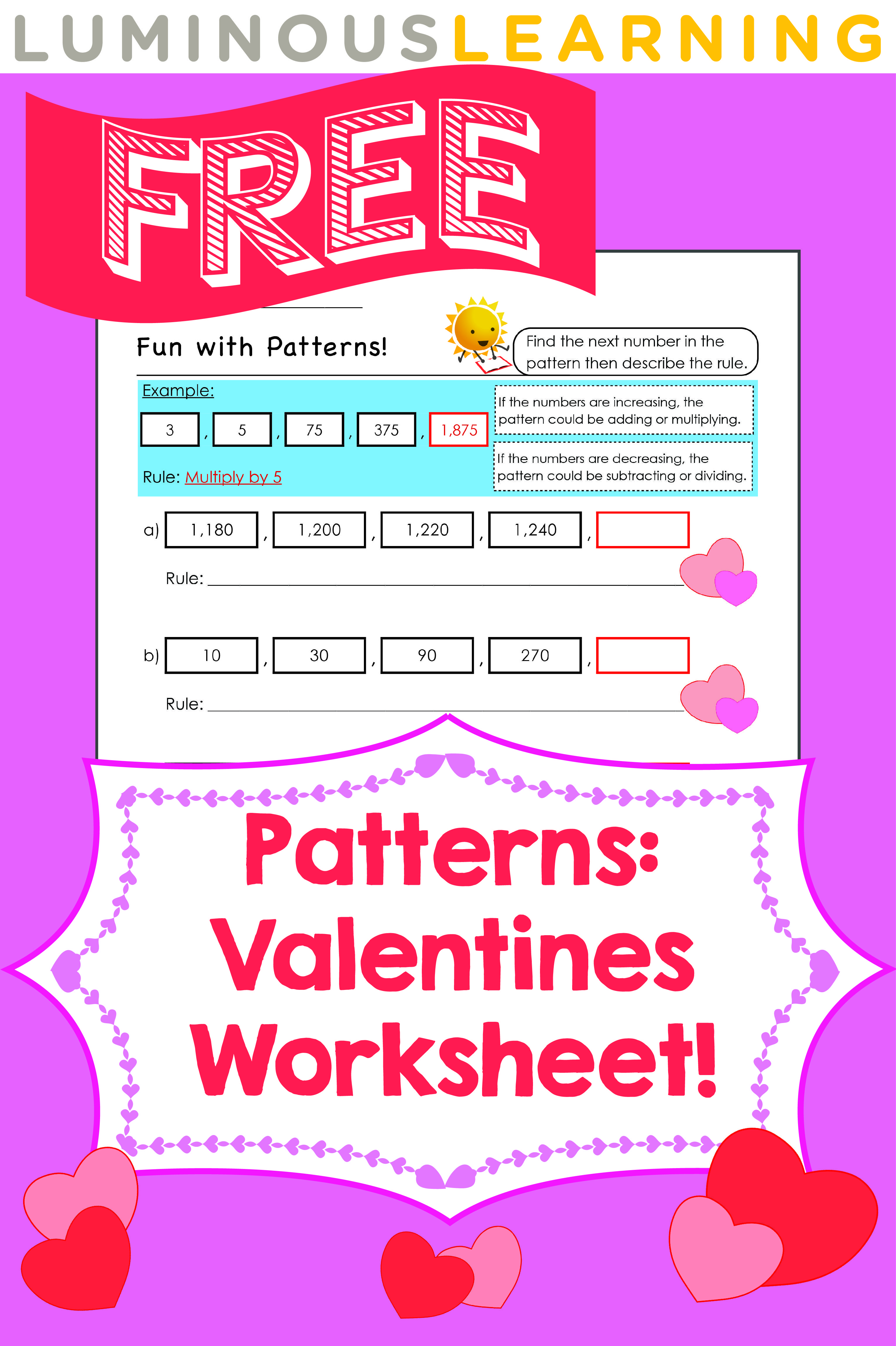 Luminous Learning Free Valentines Worksheet Number