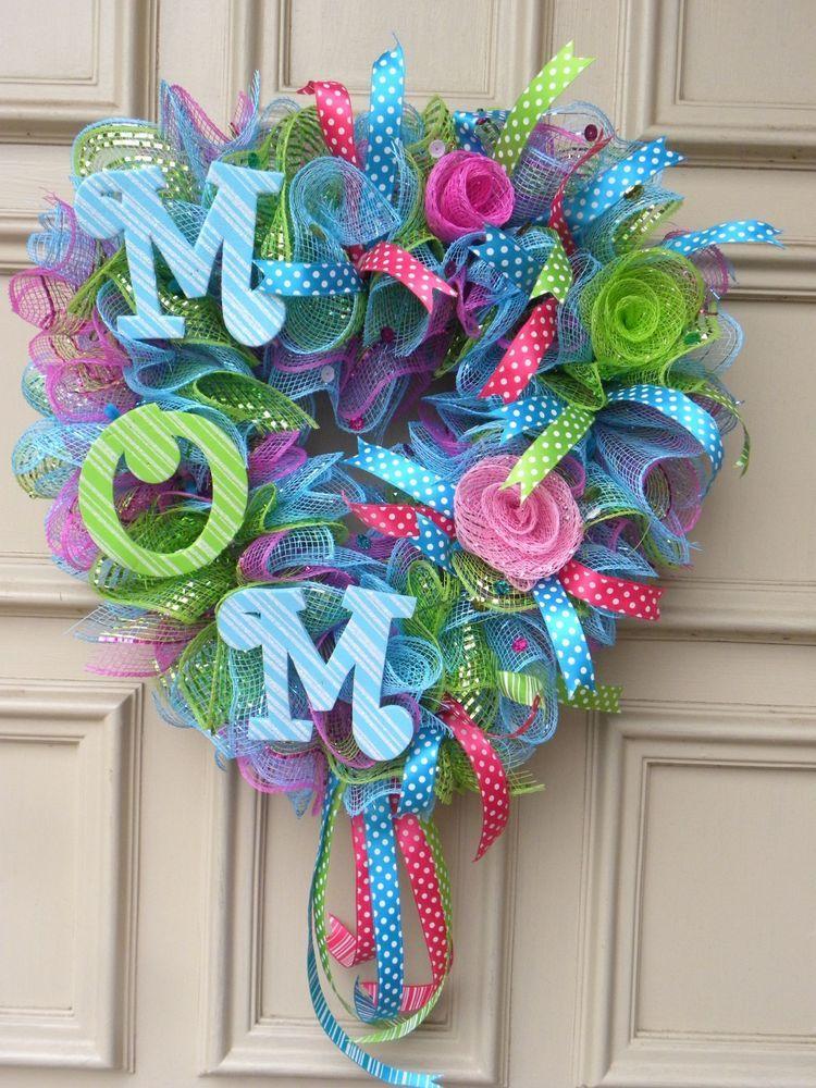 """Mother's Day """"M O M"""" Deco Mesh Door Wreath Hand"""