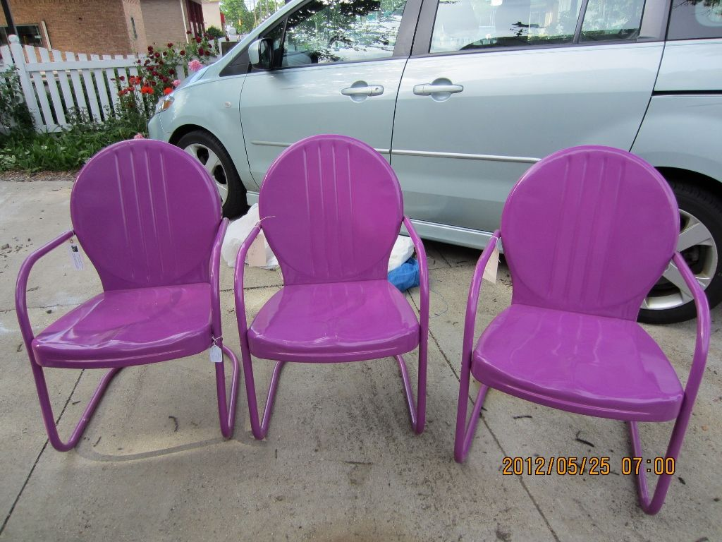 Vintage Metal Patio Chairs   Powdercoated In A Fun Color.
