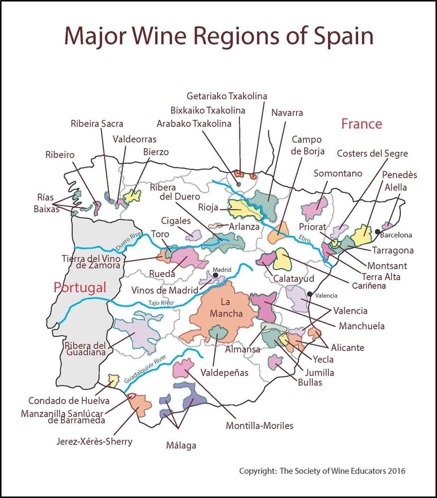 Map Of Yecla Spain.Spain Swe Map 2016 Wine Wit And Wisdom Useful Wine Info