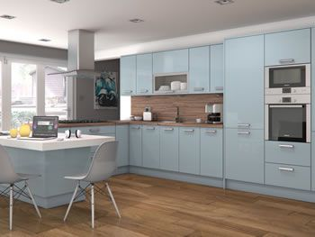 High Gloss Blue Kitchens Straight Run Kitchen Units At Trade