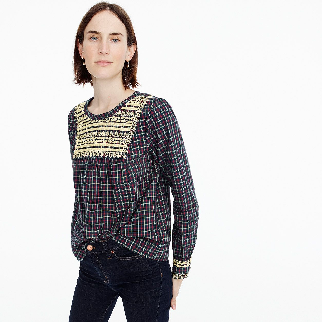 J.Crew Womens Petite Embroidered Peasant Top In Plaid (Size XXS Petite) 32ef6bca31