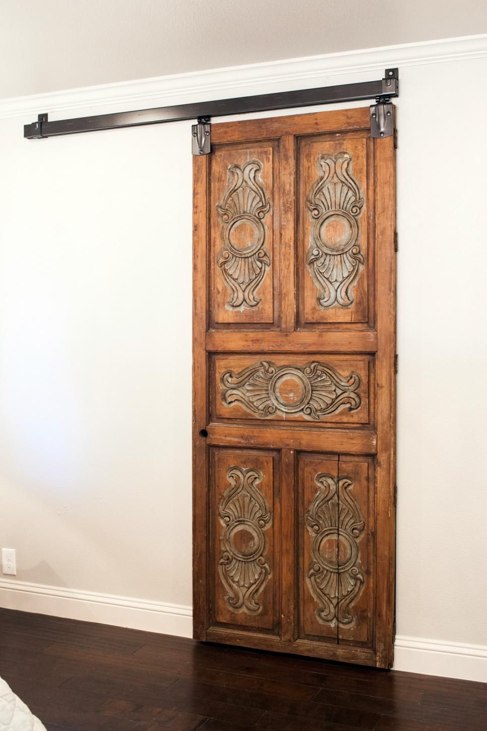 Joanna Installed This Antique Door With Sliding Barn Door Hardware For A  Distinctive Accent For