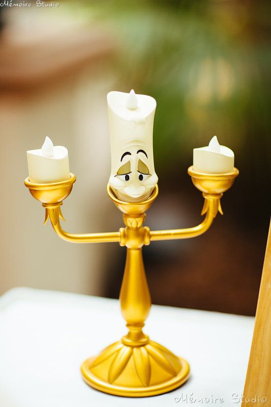 Be Our Guest Lumiere Candle Stick At Guestbook Table By