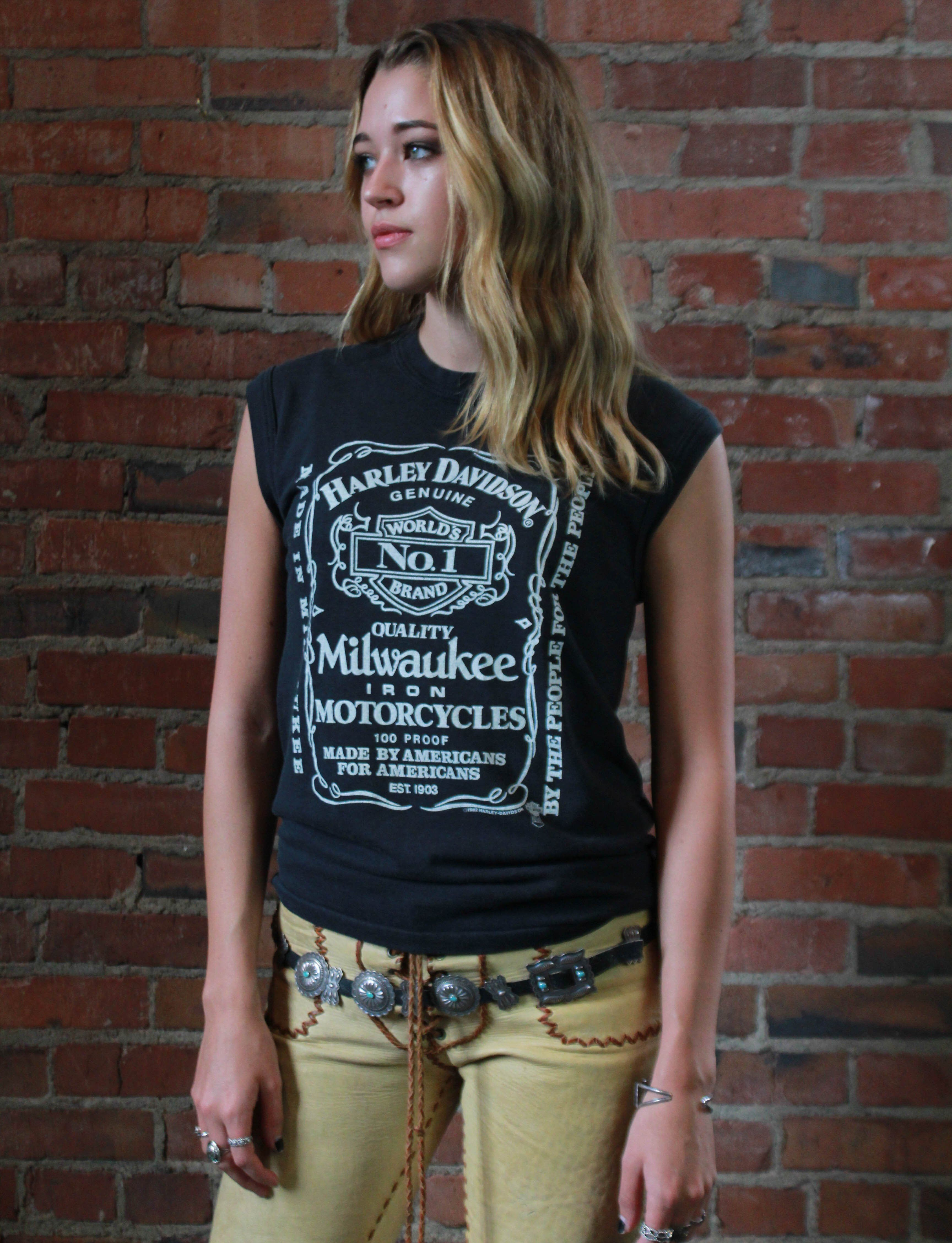 3a307cfe Vintage Harley Davidson T Shirt Jack Daniels Style Muscle Tee 1982 Small