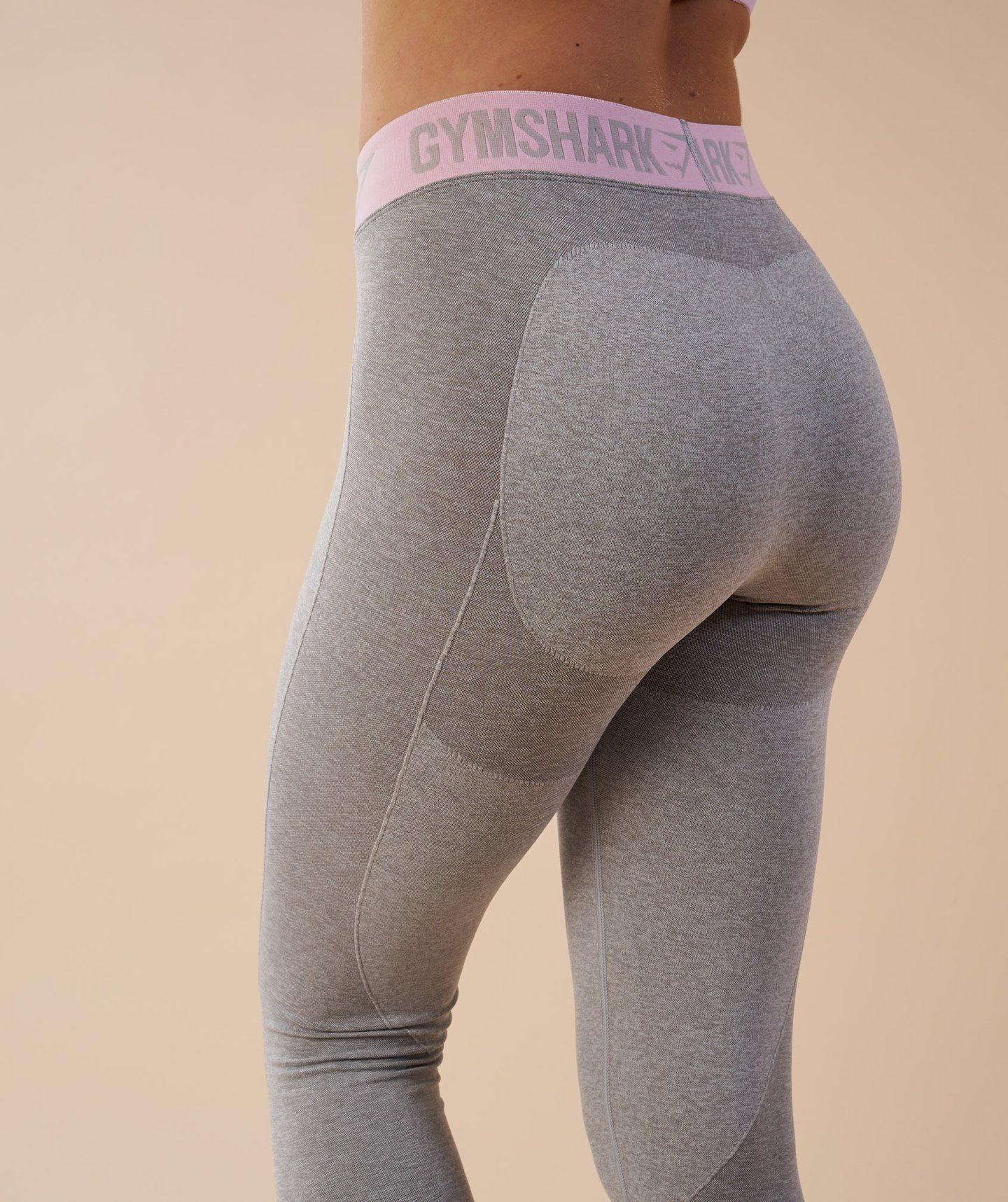 a45a72234b84e Gymshark Flex Leggings - Light Grey Marl/Chalk Pink | Size small ...
