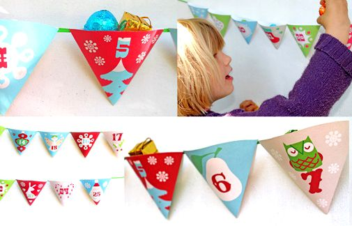 Printable advent Christmas calendar garland by Happythought www