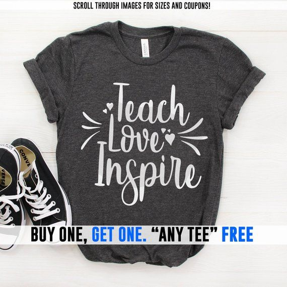 434cd2668 Teach Love Inspire, Teacher, Teacher Gifts, Teacher Shirts, Best Teacher  Gifts, Personalized Teacher Gift, School Shirts, Women's Clothing