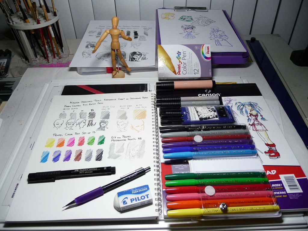 Intermediate Color Manga drawing kit reference chart