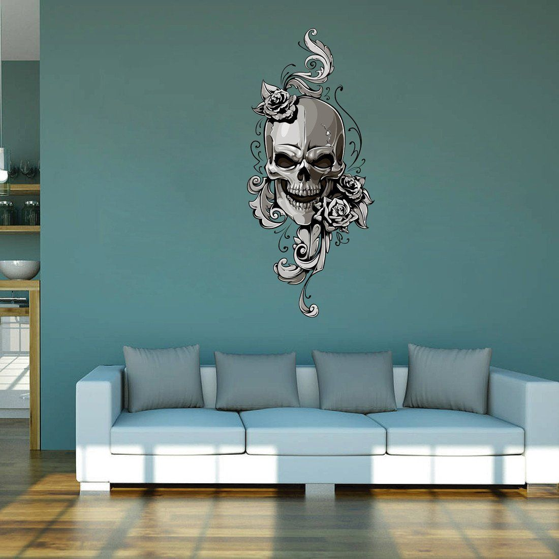 Cik543 Full Color Wall Decal Skull Monogram Flowers Living Bedroom Children Wall Colors Wall Decals Wall Decor
