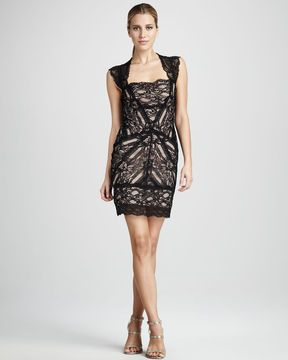 ff4913ccfc1f25 Nicole Miller Stretch-Lace Cocktail Dress | The Pink Frock {DS} Cape ...