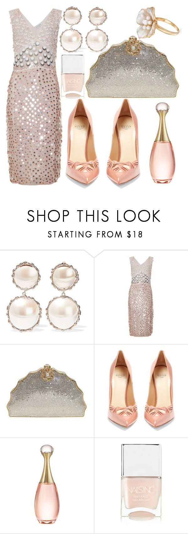 """""""Opalescent"""" by fashionforwarded ❤ liked on Polyvore featuring Rosantica, Altuzarra, Judith Leiber, Francesco Russo, Christian Dior, Nails Inc., Ross-Simons and dreamydresses"""