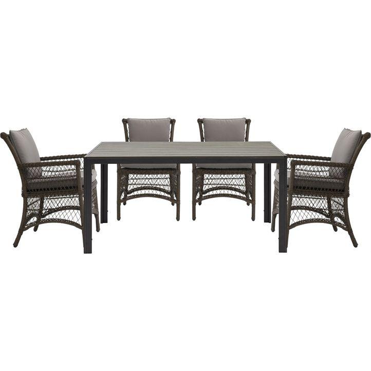 Detroit havebord med grå polywood bordplade og sort pulverlakeret ...