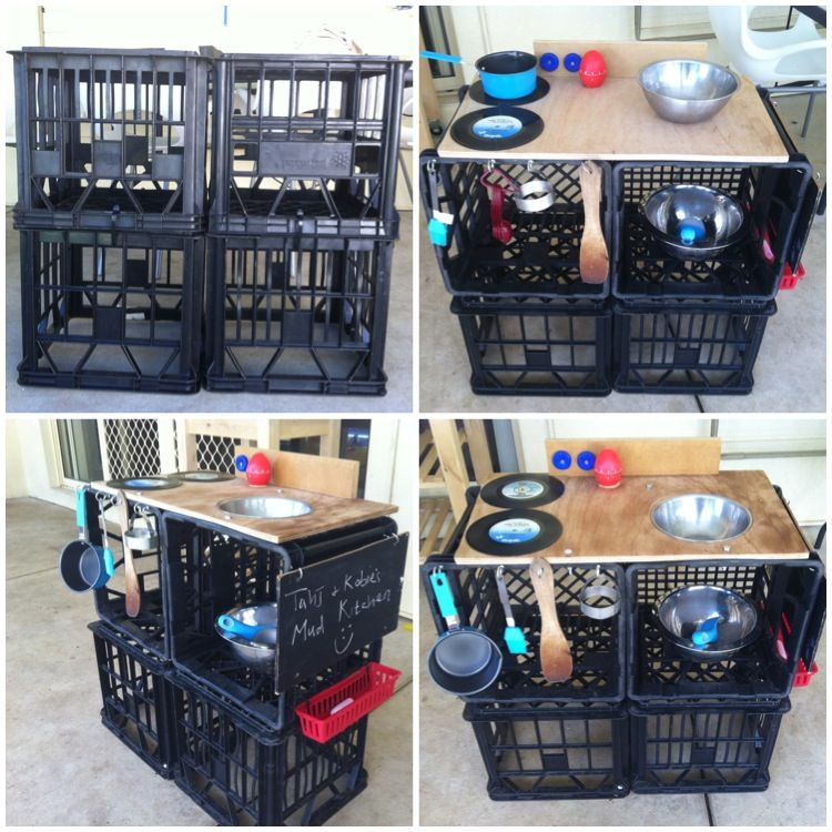 Milk crate mud pie kitchen garten pinterest for Milk crate crafts