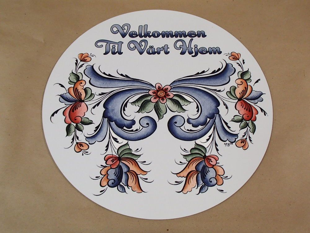 Box of 6 Hardboard Norwegian Rosemaling Coasters Art by Lise Lorentzen