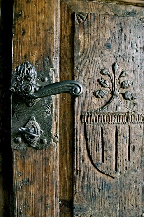 beautiful old carved oak door with iron hardware | Creative Details ...