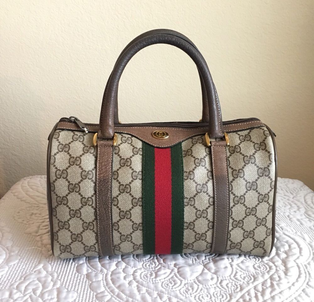63842f972 GUCCI Vintage GG Supreme Web Boston Doctor Bag | eBay | Gucci ...