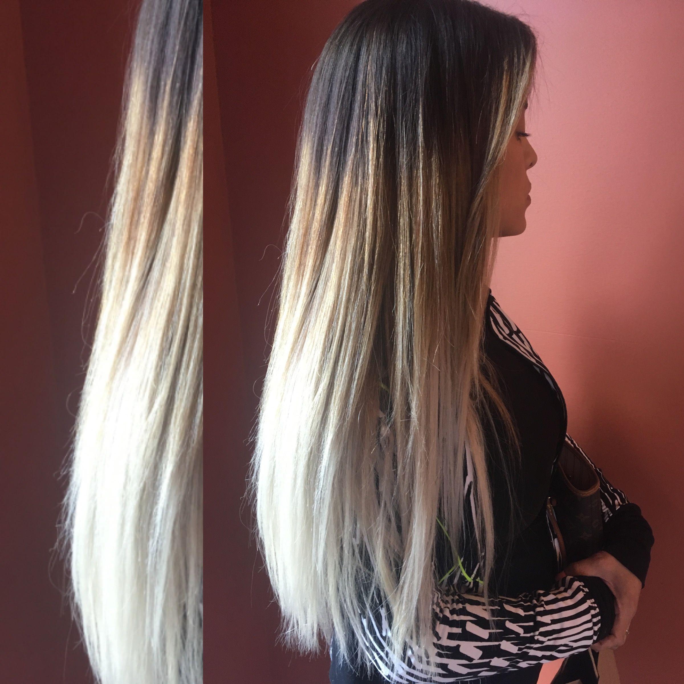 Dark Brown To White Blonde Balayage Ombre Balayombre Hair Aveda