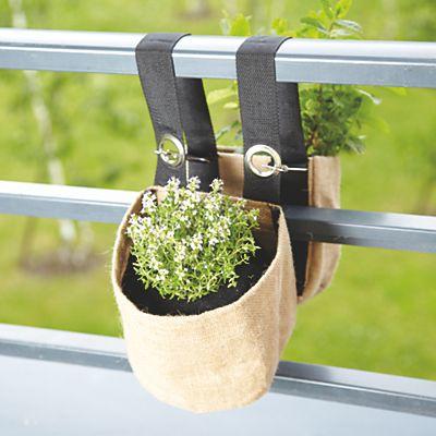 Double Jardiniere Suspendue Ronde En Toile De Jute Pour Balcon