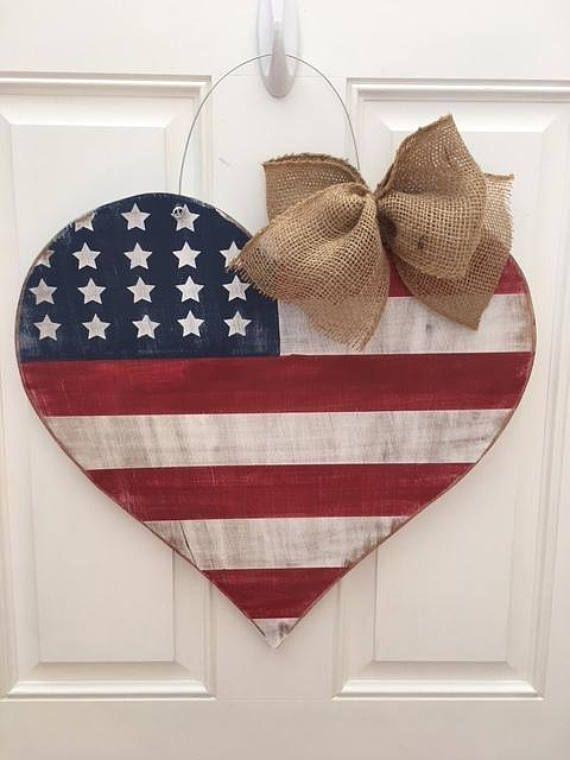 Photo of Patriotisk hjerteflagg dørhenger, amerikansk flagg dørhenger, amerikansk flagg, rustikk flagg, patriotisk krans, patriotisk hjerte, 4. juli