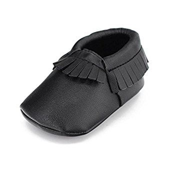 Voberry Baby Girls Soft Soled Tassel Bowknots Crib Shoes Moccasins 12 18 Month Black Clothing Crib Shoes Baby Girl Shoes Toddler Shoes