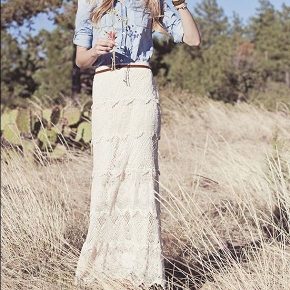 LOOKING FOR THIS SKIRT! NOT FOR SALE! Looking for this tiered lace maxi skirt! I believe it is from Dillard's, but I am not sure of the brand. Skirts Maxi