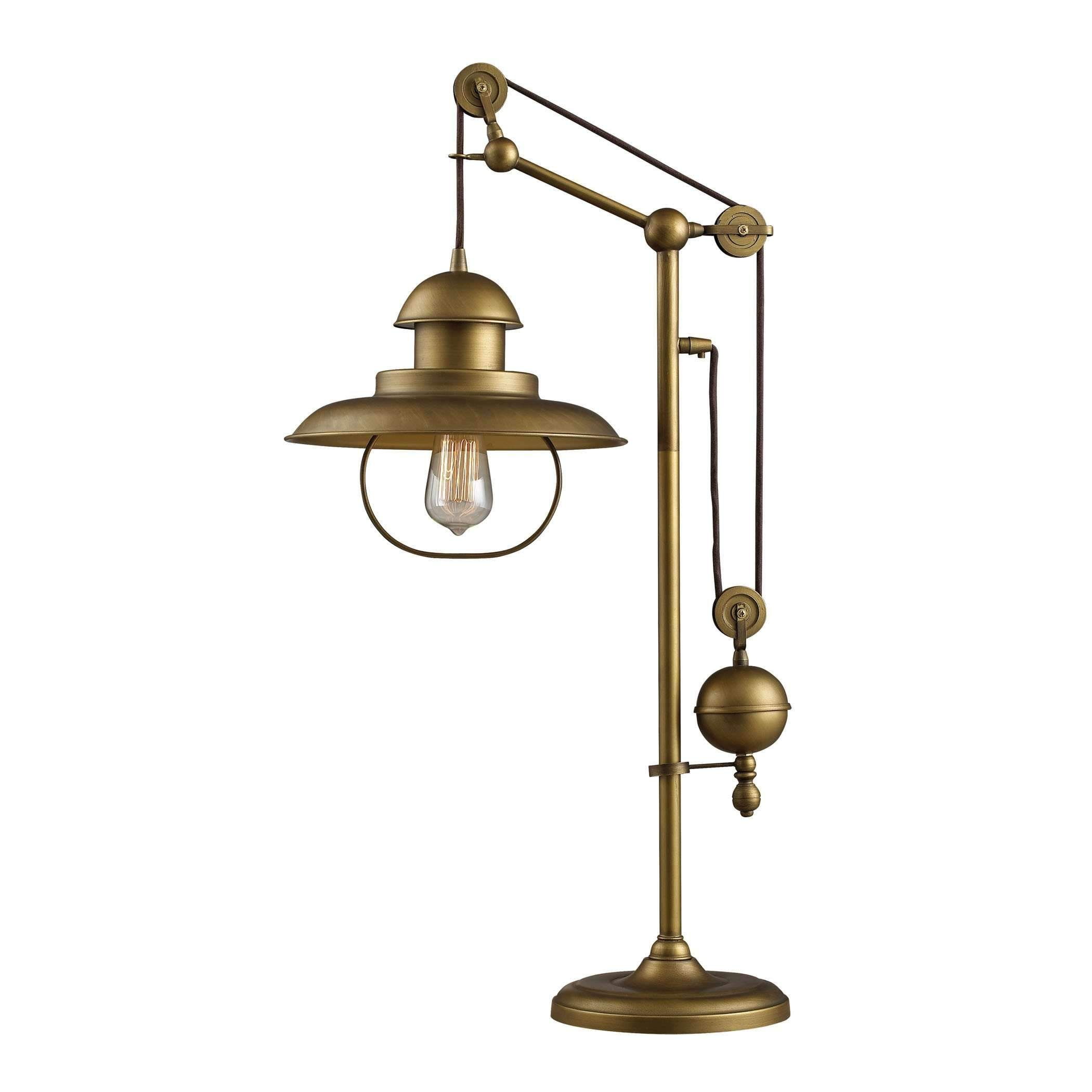 Farmhouse table lamp in antique brass with matching metal