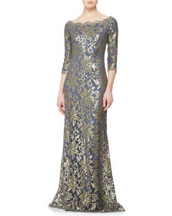 $448 Tadashi Shoji Dusty Navy Metallic Sequin lace Off Shoulder Dress Gown