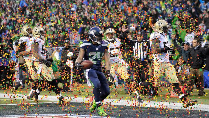 Marshawn Lynch was showered with Skittles in win over Saints