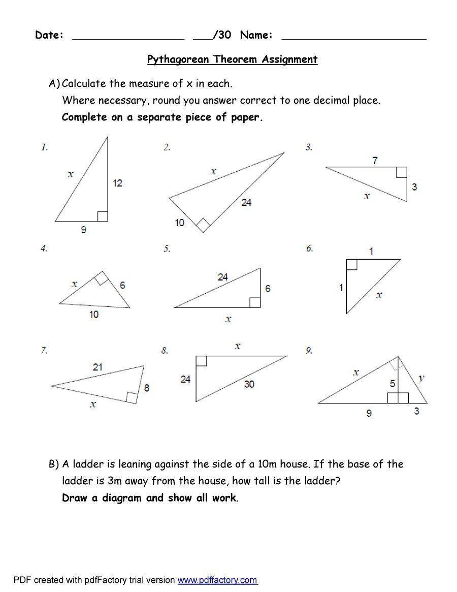 Converse Of The Pythagorean Theorem Worksheet   worksheet