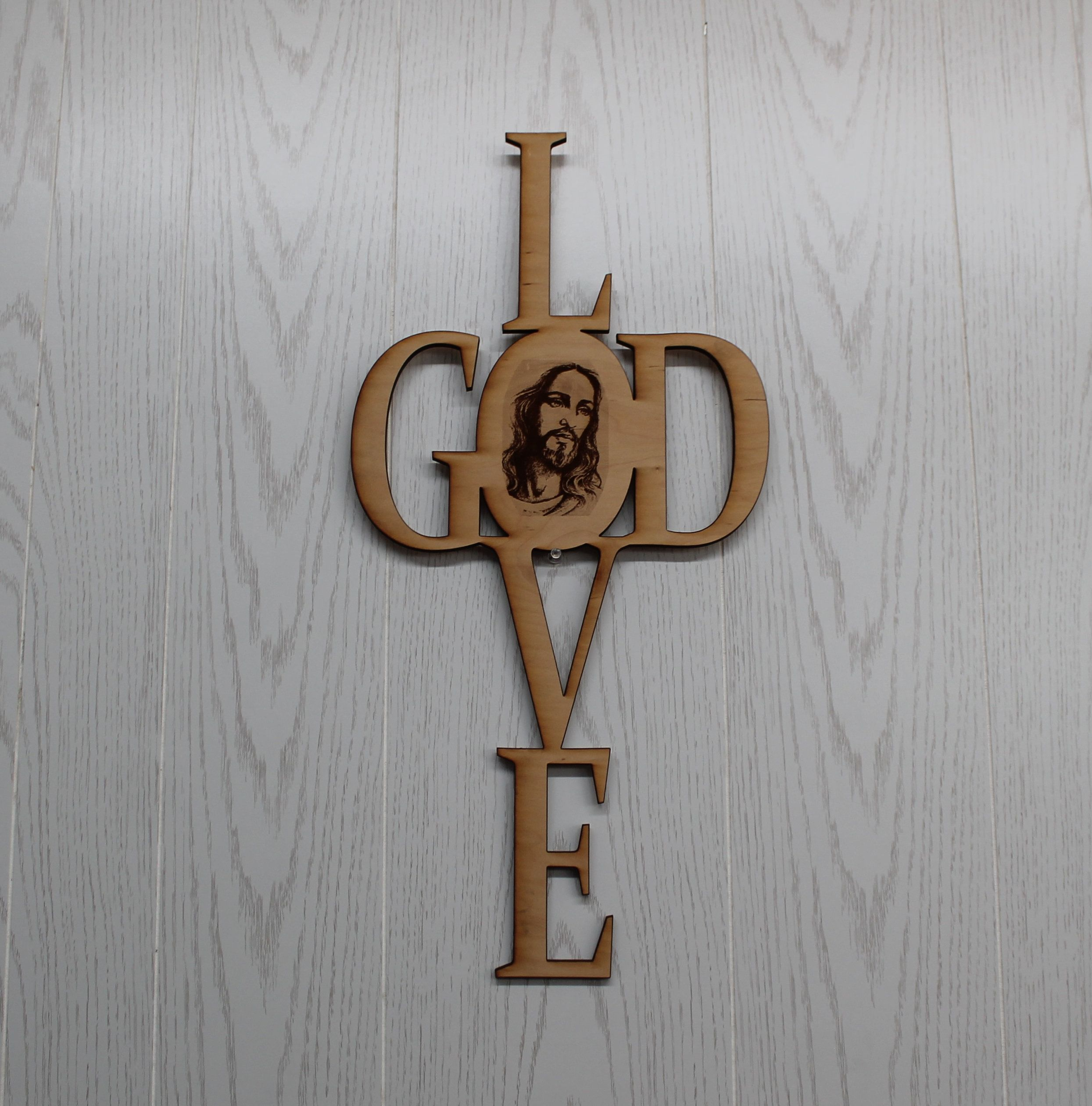 Christian Wooden Cross Love God With Picture Of Jesus Laser Engraved Wood Wall Hanging Cross Spiritual Gift Wooden Cross Laser Engraved Wood Engraved Wood