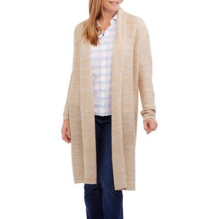 Faded Glory Women's Textured Maxi Cardigan, Size: XL, Brown ...