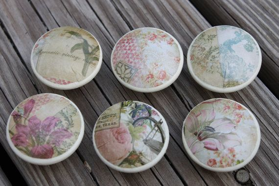 Set of 6  Vintage Inspired Cottage Chic Floral  by ReadinginRags, $22.50