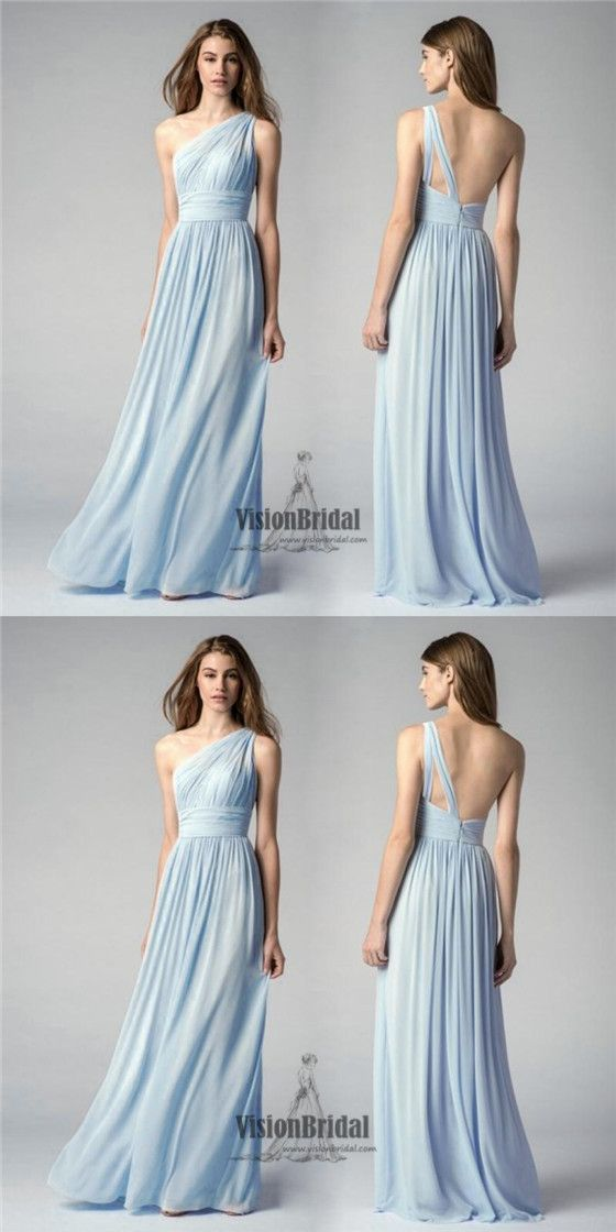d82c04f6144 Light Blue One Shoulder Pleating Zipper Up A-Line Long Chiffon Bridesmaid  Dress
