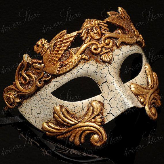 Antique//Blue//Gold One Size Luxury Mask Mens Antique Look Venetian Party