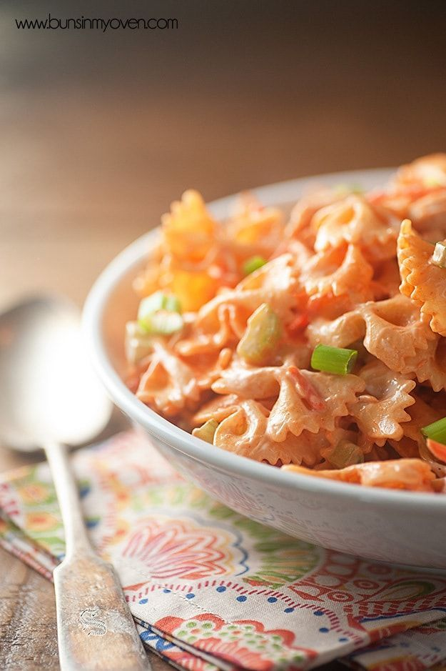 Buffalo Chicken Pasta Salad #buffalochickenpastasalad Spicy buffalo chicken pasta salad! Perfect for a summer barbecue! #buffalochickenpastasalad