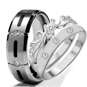 His Hers 3 Pieces TITANIUM And STAINLESS STEEL Engagement Wedding Ring Set 3999