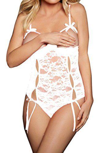 260de346293 FIYOTE Women Sexy Open Cup Crotchless Bodysuit Lace Teddy Lingerie Nighty  (L
