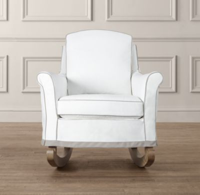 Roll Arm Rocker With Slipcover Nursery Seating Restoration Hardware Baby Child Upholstered Rocking Chairs Nursery Seating Rocking Chair Nursery