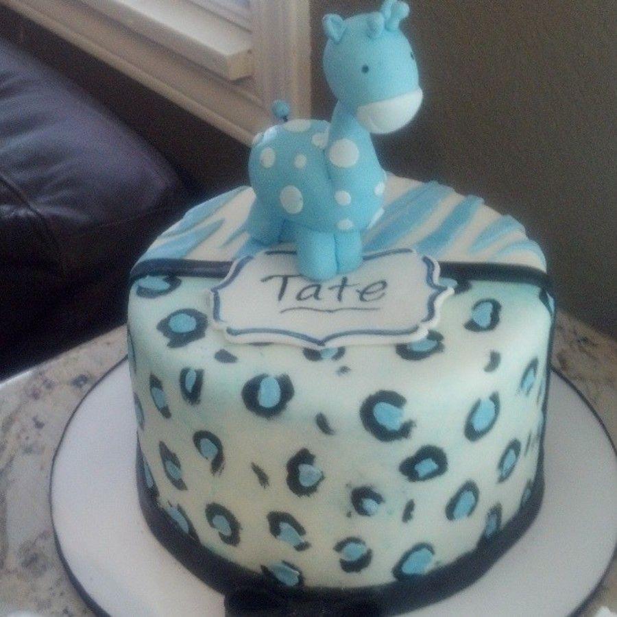 Blue Safari Baby Shower Fondant Giraffe