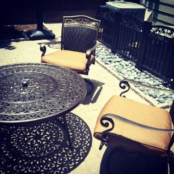 Amazon Com Strathwood St Thomas Cast Aluminum Fire Pit With Table