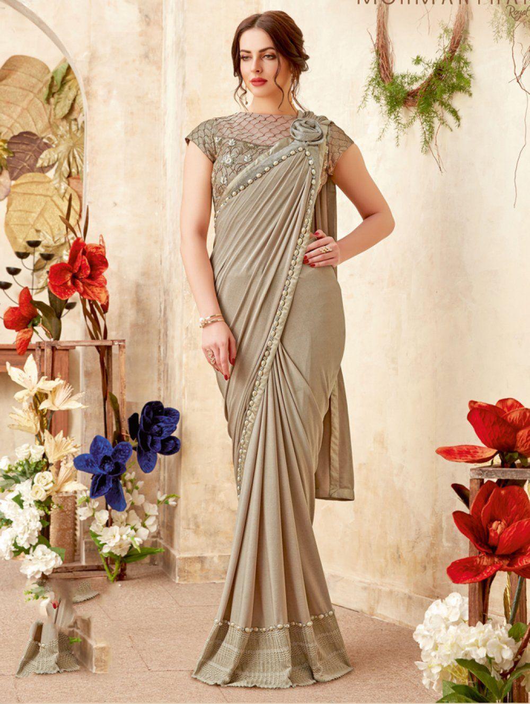 4ff070d984 Golden Shimmer Lycra Pre Pleated Designer Saree with Floral Brooch ...