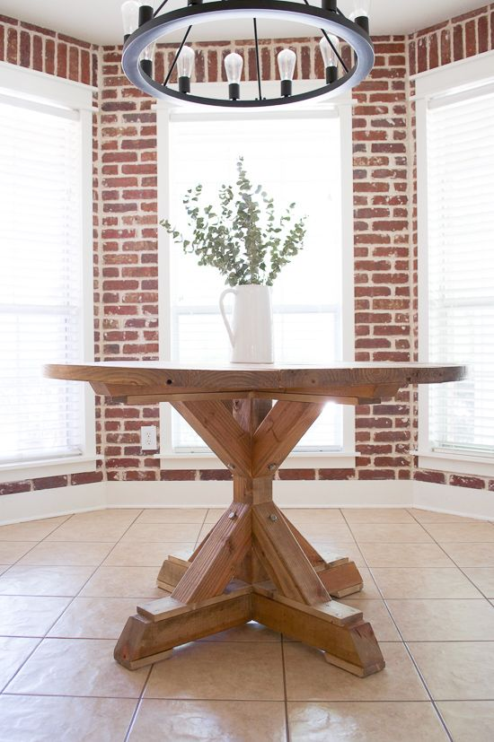 Round Farmhouse Dining Table Rounding Bricks And Kitchen Banquette