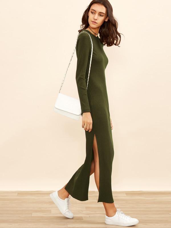 Army Green Rib Knit Column Side Slit Dress   Products   Pinterest 43de3a7369