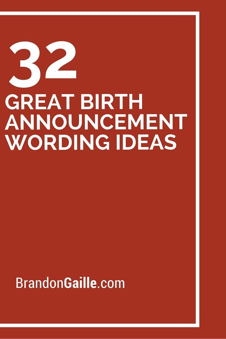 32 Great Birth Announcement Wording Ideas Birth Announcement