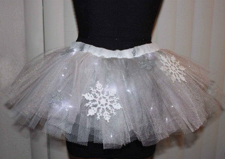 Snowflake White And Grey Sparkle Led Light Up Tutu Made